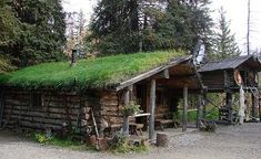 Located in Alaska, these sod roof houses are eco friendly. Additionally, the weight of the sod roof, compresses the logs to make the walls more draft proof, reducing heating and cooling costs.