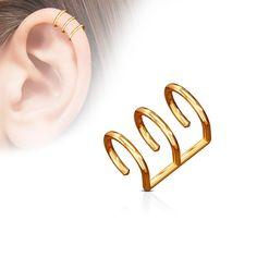 Triple Ring IP Fake Non Piercing Ear Cartilage Helix Cuff Piercing Oreille Cartilage, Ear Piercing Helix, Fake Ear Piercings, Ear Peircings, Cartilage Earrings, Diamond Hoop Earrings, Cuff Earrings, Crystal Earrings, Hanging Earrings