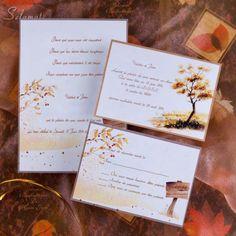 Faire Part de Mariage Pas Cher Cerise Automne Or JM502  #weddinginvitations #weddingcards #joyeuxmariage #fairepartmariage