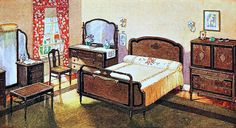 Home Interior Entrance 1924 Bedroom From an ad for Cavalier Furniture in the November 1924 issue of Good Housekeeping magazine. Living Vintage, Vintage Room, Bedroom Vintage, 1920s Home Decor, Unique Home Decor, Vintage Home Decor, The Sims, Sims 4, 1920s Furniture