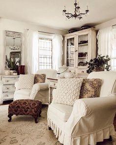 Cozy Living, Living Room Sets, Home Living Room, Living Room Decor, Dining Room, Estilo Country, Boho Home, White Rooms, French Country Decorating