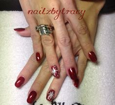 Christmas red glitter nail art with snow flakes