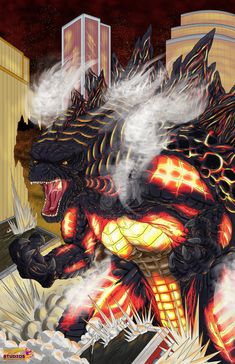 Anguirus had taken hold of the Monster King's arm and pulled the mutant saurian down. In their struggle, Rodan took the opportunity to peck at Godzilla, attempting to pluck the eyes from his socket...