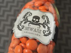 Halloween Party Favor :: Silver Printable Foil Labels