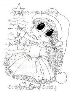 INSTANT DOWNLOAD Digital Digi Stamps Big Eye Big Head Dolls Digi Besties Christmas Star Bestie By Sherri Baldy