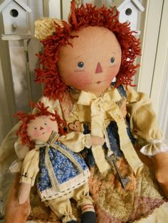 Primitive Aged Raggedy Anne with her little Annie Doll #NaivePrimitive