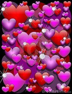 Purple & Red Hearts.