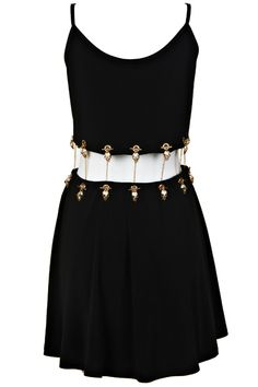 #ROMWE Golden Chained Detachable Black Dress