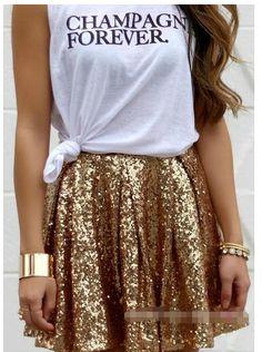 Shinning Golden Sequins Pleated Loose Short Skirt