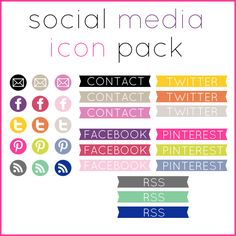 Bored with Twitter & Facebook blue? Free Bright Social Media Icons!