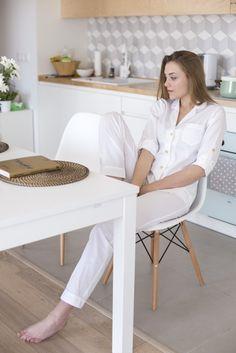 Premium piżama damska biała 100% bawełna