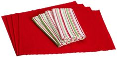 Amazon.com - DII Holly Jolly Linen Set, Includes 4 Tango Red Placemats and 4 Dobby Stripe Napkins - Place Mats #AmazonCart #DII #DesignImports