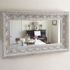 Carved White Shabby Chic Mirror