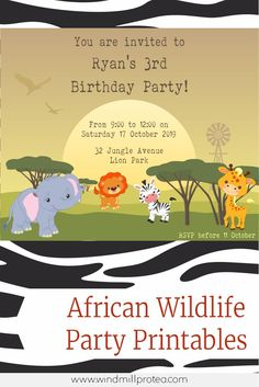 Wild Animal / African Safari Themed Birthday Party with free printables.