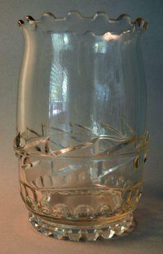 Antique Spooner Celery Vase Lightning EAPG Pressed Glass Tiffin US C1893