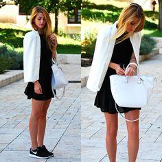 Sheinside Blazer, Zara Bag, Persunmall Dress, Nike Sneakers