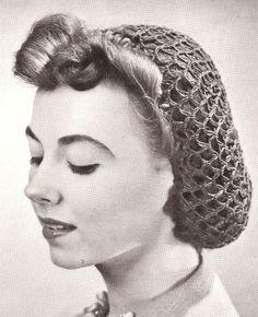 Vintage Crochet Snood Hairnet hair net fishnet Pattern