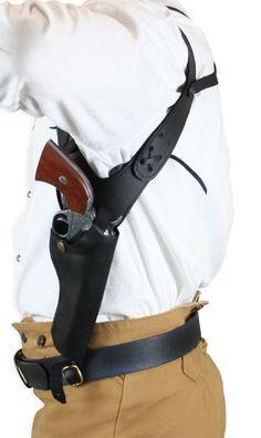(.44/.45 cal) Shoulder Holster - RH Draw - Black Leather
