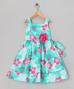 Blue & Pink Floral Dress - Girls' Plus #zulily #zulilyfinds