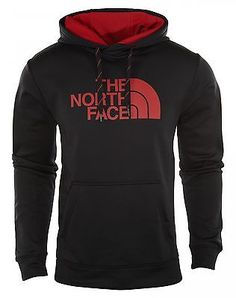North Face Surgent Hoodie Mens A6S8-EMQ Black Red Logo Pullover Hoody Size M