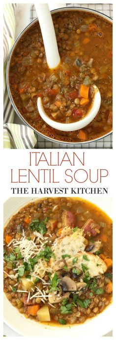 Rich hearty Italian Lentil Soup seasoned with basil, oregano, dill and richly flavored with olive oil. Loaded with iron and fiber! Healthy recipe @theharvestkitchen.com