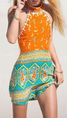 Orange Halter Vintage Print Backless Dress
