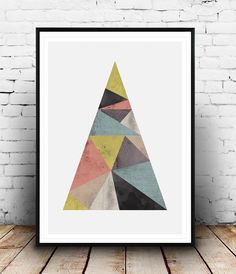Abstract mountain print, geometric poster, Abstract art, Minimalist decor, nordic style, Watercolor abstract, Trinagle print, Modern art, by Wallzilla on Etsy https://www.etsy.com/listing/223320470/abstract-mountain-print-geometric-poster