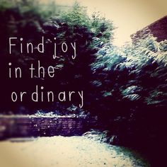 Find joy in the ordinary and make the ordinary extraordinary- spread the love!