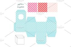 Cute retro square gift box template with gingham ornament to print, cut and fold by All Cute Stuff on @creativemarket