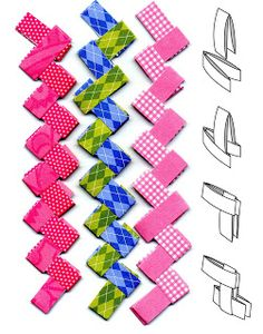 Art Projects for Kids: Paper Chains, Gum Wrapper Style. Very basic origami, paper folding. Fun Crafts, Crafts For Kids, Arts And Crafts, Projects For Kids, Art Projects, Sculpture Projects, Paper Chains, Kirigami, How To Make Paper