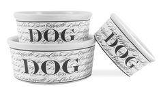 """Our Bon Chien Dog Bowls are the crème de la crème! These heavyweight ceramic dog bowls are stylish and functional. Made from restaurant quality, high-fired stoneware, these dog dishes are dishwasher and microwave safe.  Small 24 oz. Bowl is 6""""x2.75""""  Medium 48 oz. Bowl is 7.5""""x3""""  Large 72 oz. Bowl is 9""""x3.5 $0.00"""