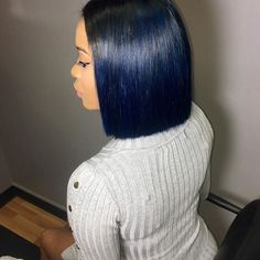 Love this blunt cut bob on @crystalstyledme by @a4_ava ✂️ Midnight blue #voiceofhair voiceofhair.com
