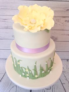 Yellow flower shower cake, by Amy Hart