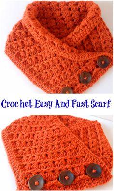 Crochet Easy And Fast Scarf - Knitting Bordado Crochet Cowel, Crochet Scarf Easy, Fast Crochet, Crochet Cowl Free Pattern, Bonnet Crochet, Easy Crochet Patterns, Crochet Scarves, Crochet Clothes, Crochet Stitches