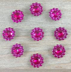 Bright Pink Rhinestone Hair Bow Center Bright pink cabochon