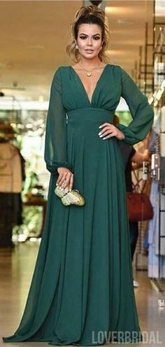 Open Back Long Sleeves Green Chiffon Cheap Bridesmaid Dresses Online, WG760#bridesmaids #bridesmaiddress #bridesmaiddresses #dressesformaidofhonor #weddingparty #2020bridesmaiddresses