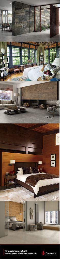Incorporaciones de acabados de piedra, maderas cálidas, y materiales orgánicos crean ambientes rústicos inspirados en la naturaleza.