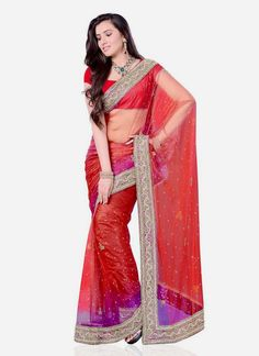 Artistic Red Net Designer Saree