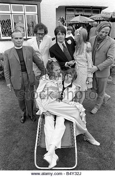 The Beatles June 1968 Paul McCartney Jane Asher and Roger McGough and John Gorman of The Scaffold attend the wedding - Stock Image