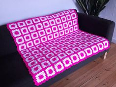 Hey, I found this really awesome Etsy listing at https://www.etsy.com/listing/503141710/shocking-pink-crochet-blanket-pink-throw