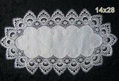 "White Lace Table Runners, Size 14""*28"", or Click ""5 New"" for Other Sizes by Shenhai. $10.50. 100% Polyester. Machine Washable. There are different sizes runners, 14""*28"", 16""*36"",16""*45"",16""*54"", or 16""*72"". Please measure your table for selecting the perfect size of the runner."
