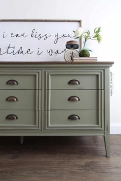 Mid Century Modern Farmhouse Dresser in Olive Green Green Painted Furniture, Painted Bedroom Furniture, Refurbished Furniture, Farmhouse Furniture, Repurposed Furniture, Painting Furniture, Farmhouse Dressers, Distressed Bedroom Furniture, Restoring Old Furniture