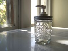 Quilted Soap or Lotion Dispenser--a half pint jelly jar with Best Performance pump. $8.00, via Etsy.