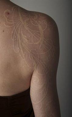White Ink Tattoo: Shoulder/Arm Piece