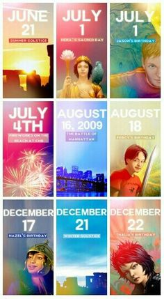 Important dates in Percy Jackson