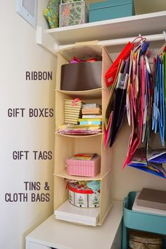 Organizing our cluttered craft closet.