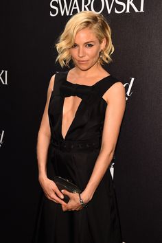 Mid-length hair envy, courtesy of Sienna Miller at Cannes 2015, with a side sweep and barrel waves <3