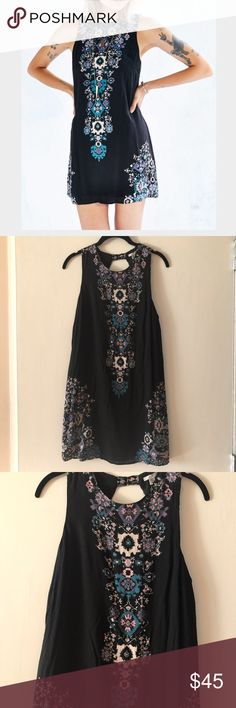 Ecote black mini dress, brand new! Ecote mini black tank dress with colorful motif. Brand new with tags. Small opening on upper back with hook and eye. Super cute and easy to wear!! Urban Outfitters Dresses Mini