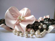 Pink Wedding Garter SET/ black lace on soft pink satin. $45.00, via Etsy.