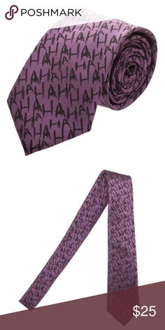 "Joker Laughing Neck Tie Batman Officially Licensed This is for 1 Officially Licensed Neck Tie.  Very nice purple neck tie from Bioworld.  Based on the Joker, it has ""HAHA"" all over it.  Packaging comes with instructions on how to tie a tie.  Makes a great gift!    Theme:  Joker Laughing Color:  Purple Length:  Approx. 56"" Long Width:  Approx 3"" Wide (at widest point) Material: 100% Polyester Brand: Bioworld  Intended for Ages 14 and Up.   CONDITION - New  Check my Posh for more Nerdy Ties…"